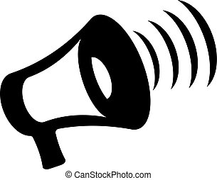 megaphone icon on white background - Megaphone icon vector,...