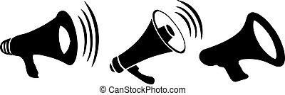megaphone icon on white background