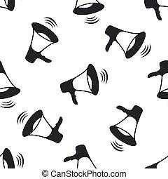 Megaphone icon seamless pattern on white background. Flat design. Vector Illustration