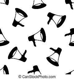 Megaphone icon seamless pattern on white background. Vector Illustration