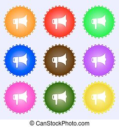megaphone icon sign. Big set of colorful, diverse, high-quality buttons. Vector