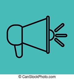 megaphone icon speak blue background social network