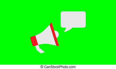 megaphone icon with bubble speech animation on green background 4K video