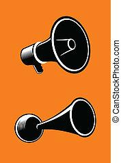 Megaphone - Icons of megaphone on orange background. Vector.