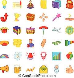 Megaphone icons set, cartoon style