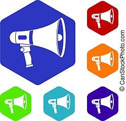 Megaphone icons set hexagon