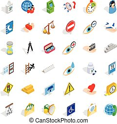 Megaphone icons set, isometric style