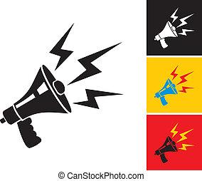 Megaphone - Set illustration of megaphone and lightning