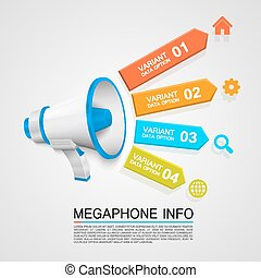 Megaphone info art tape color. Vector illustration