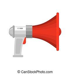 Megaphone isolated. Loudspeaker. shout against white...