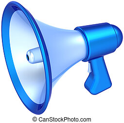Megaphone news message communication colored blue. Classic bullhorn loudspeaker announcement symbol. Support education concept. This is a detailed CG 3D render (Hi-Res). Isolated on white background