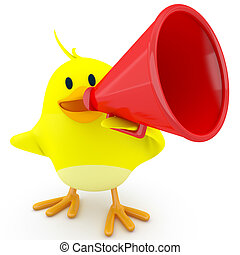 Megaphone - Little chick with a red megaphone - 3d render
