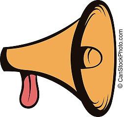 Megaphone, loudspeaker icon cartoon