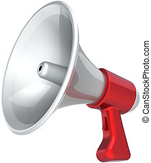 Megaphone news message propaganda colored rew white. Bullhorn loudspeaker communication announcement symbol. Help support concept. This is a detailed CG image 3D render. Isolated on white background