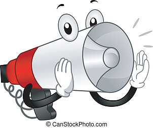 Mascot Illustration of a Megaphone Shouting Out Loud