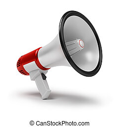 Megaphone. 3d image. Isolated white background.