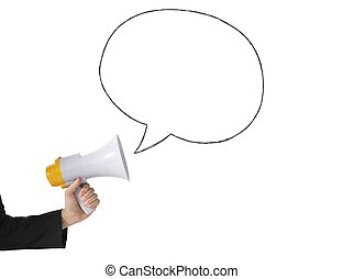 Megaphone message - Megaphone with message on white ...