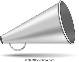 Megaphone - Metallic megaphone on white background, vector...