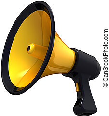Megaphone blog announce. Classic colored black and yellow loudspeaker model. Support propaganda public concept. This is a detailed render 3d (Hi-Res). Isolated on white background