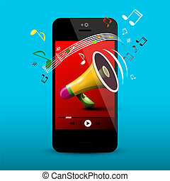 Megaphone on Mobile Phone Screen. Vector Music Player Application. Notes on Cellphone.
