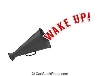 Wake Up - Megaphone on white background with pop-up caption...