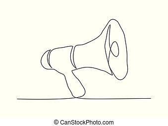 Megaphone One line drawing