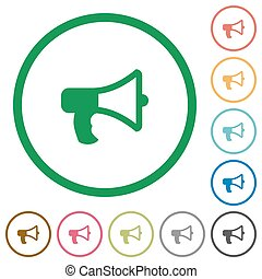 Megaphone outlined flat icons