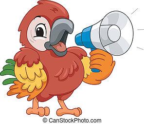 Megaphone Parrot - Illustration Featuring a Parrot Using a...