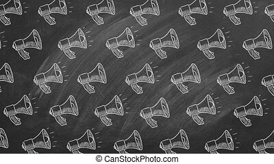 Pattern from megaphone icons drawn in chalk on a blackboard. Concept of announce, media, communication or advertisement Loudspeaker animated pattern. Seamless loop video.