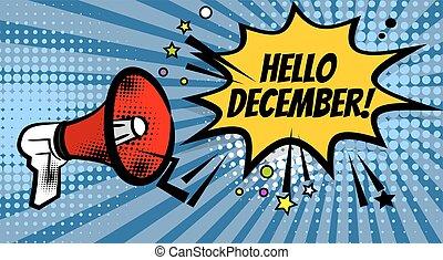Megaphone pop hello december - Pop art advertising hello ...