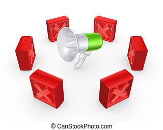 megaphone., röd, omkring, crossmarks
