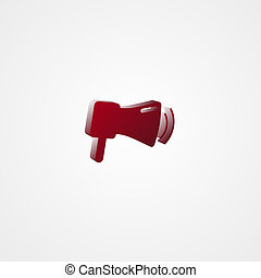 Megaphone Red 3d  illustration