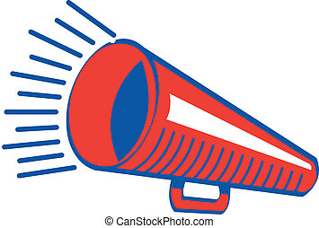 Retro or vintage 1940s or 1950s style megaphone for high school or college sports or a sporting event.