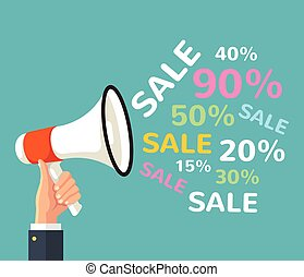 Megaphone sign with sale text