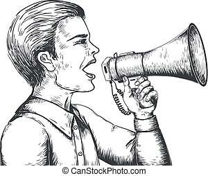 Megaphone sketch. Hand drawn loudspeaker engraving illustration, bullhorn announcement concept. Vector news and ads