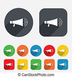 Megaphone soon icon. Loudspeaker symbol. Circles and rounded...