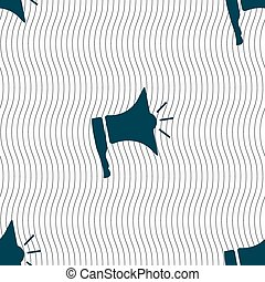 Megaphone soon icon. Loudspeaker symbol. Seamless pattern with geometric texture. Vector