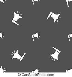Megaphone soon icon. Loudspeaker symbol. Seamless pattern on a gray background. Vector