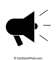 megaphone sound silhouette style icon vector illustration ...