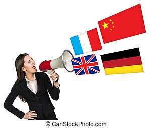 Megaphone speak foreign language with german flag bubble