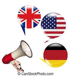 Megaphone speak foreign languages