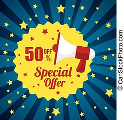 megaphone stamp special offer discount star blue background