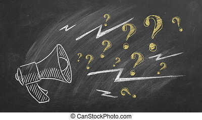 Megaphone with question marks hand drawn in chalk on a blackboard. Ask for help. FAQ concept. Asking questions.