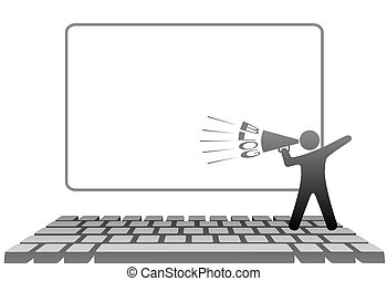 A symbol person blogger with a megaphone BLOGS on a PC computer keyboard in front of monitor copyspace.