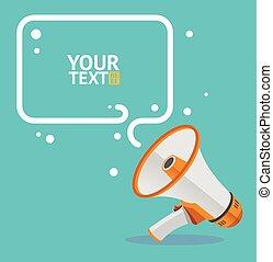 Megaphone text bubble card. Vector