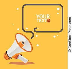 Megaphone text bubble card. Vector