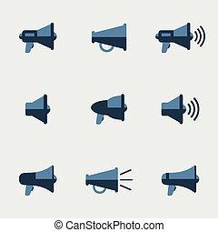 Megaphone vector icons set. Communication and sound, symbol...