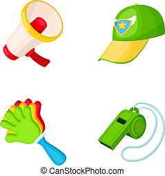 Megaphone, whistle and other attributes of the fans.Fans set collection icons in cartoon style vector symbol stock illustration web.