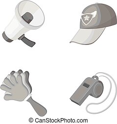 Megaphone, whistle and other attributes of the fans.Fans set collection icons in monochrome style vector symbol stock illustration web.