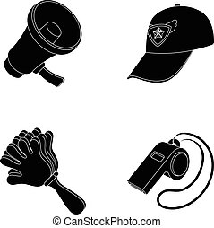 Megaphone, whistle and other attributes of the fans.Fans set collection icons in black style vector symbol stock illustration web.